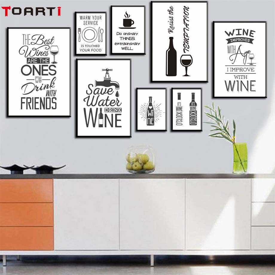 Wine Life Quotes Poster&Prints Modular Wall Picture Kitchen Modern Home Decor Canvas Painting Wall Art Murals Still life Photos