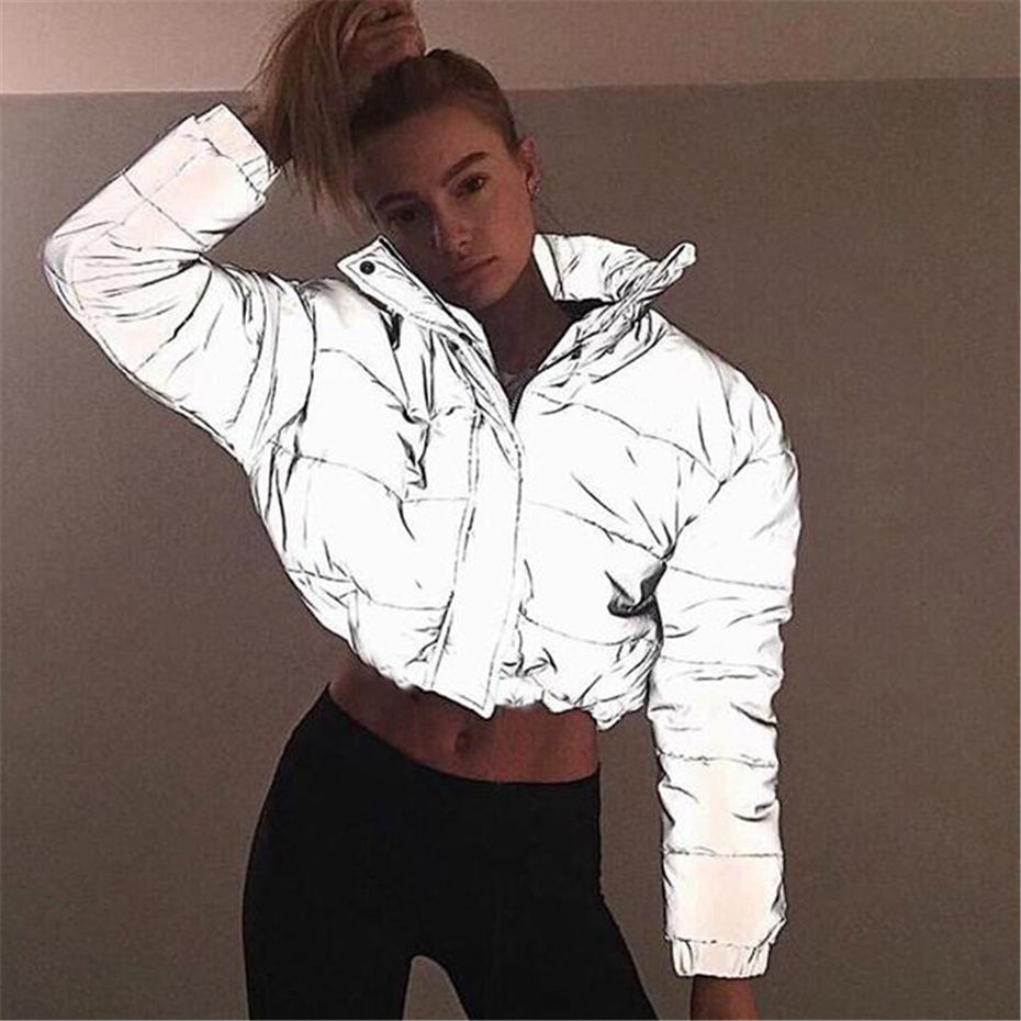 HAOYUAN Women Cropped Puffer Padded Jacket Fashion Plus Size Winter Thick Reflection Bubble Coat Female Warm Loose Zipper   Parkas