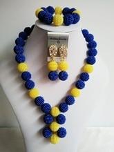 Nuevo azul Marino y amarillo De Plástico Bola de La Perla Collares Mujeres Joyería Nigeriano Africana Conjunto Perlas de Boda Joyería ZL006