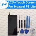 Para huawei p8 lite pantalla táctil + pantalla lcd 100% nuevo panel de cristal del digitizador para huawei ascend p8 lite 5.0 pulgadas