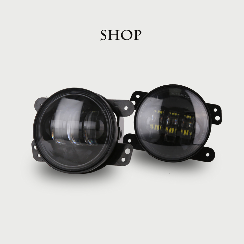 1 Pair 30w led 4 inch White Round fog lights lens Projector 4'' Fog Lamp For Offroad Dodge journey Jeep Wrangler 07-14 2pcs led round 4 inch fog lights 30w 4 fog lamp lens projector led driving headlamp for offroad jeep wrangler dodge chrysler
