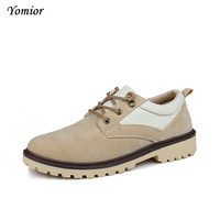 Yomior Autumn England Shoes Man Wedge Casual Shoes Retro Fashion Cow Suede Tooling Shoes High Quality