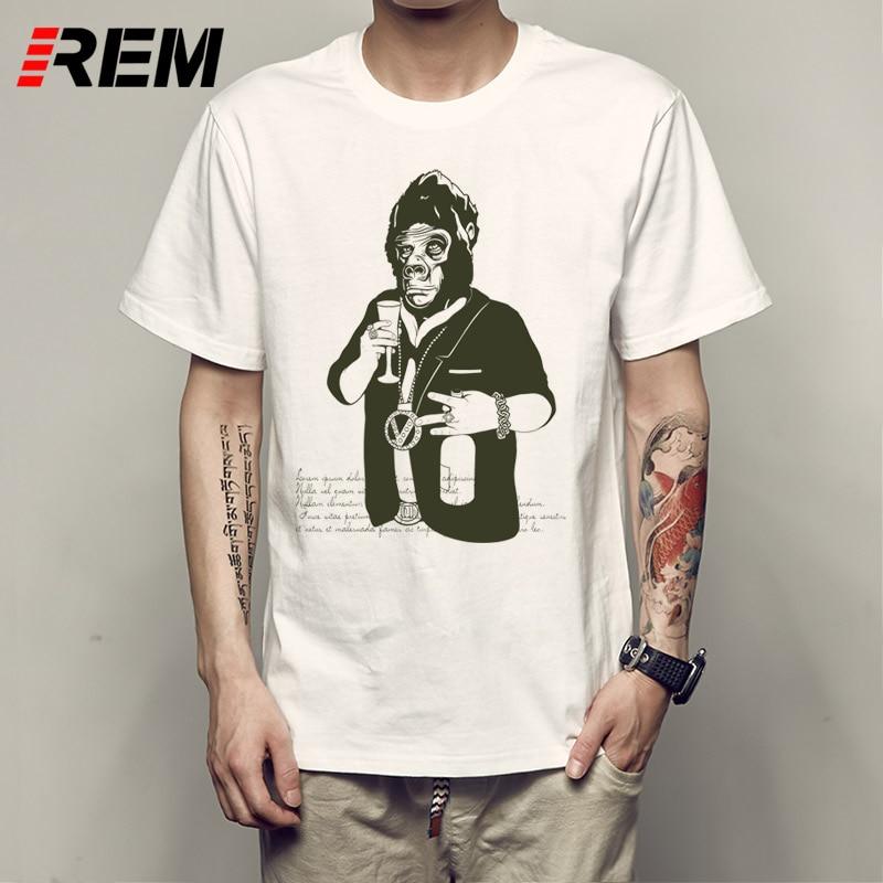 REM Orangutan Caesar T Shirts Men Movie Animal Characters Casual T-Shirt Geek Round Collar Cool Mens Tee Shirt Clothing p63292