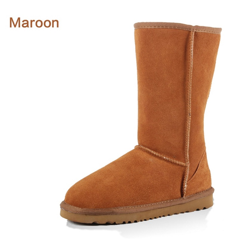 High Quality 2017 new Australia Winter Boots Women Cow Suede Knee High boots Leather Warm boots Snow Boots Mujer Botas 22.5-27cm only true love high quality women boots winter snow boots
