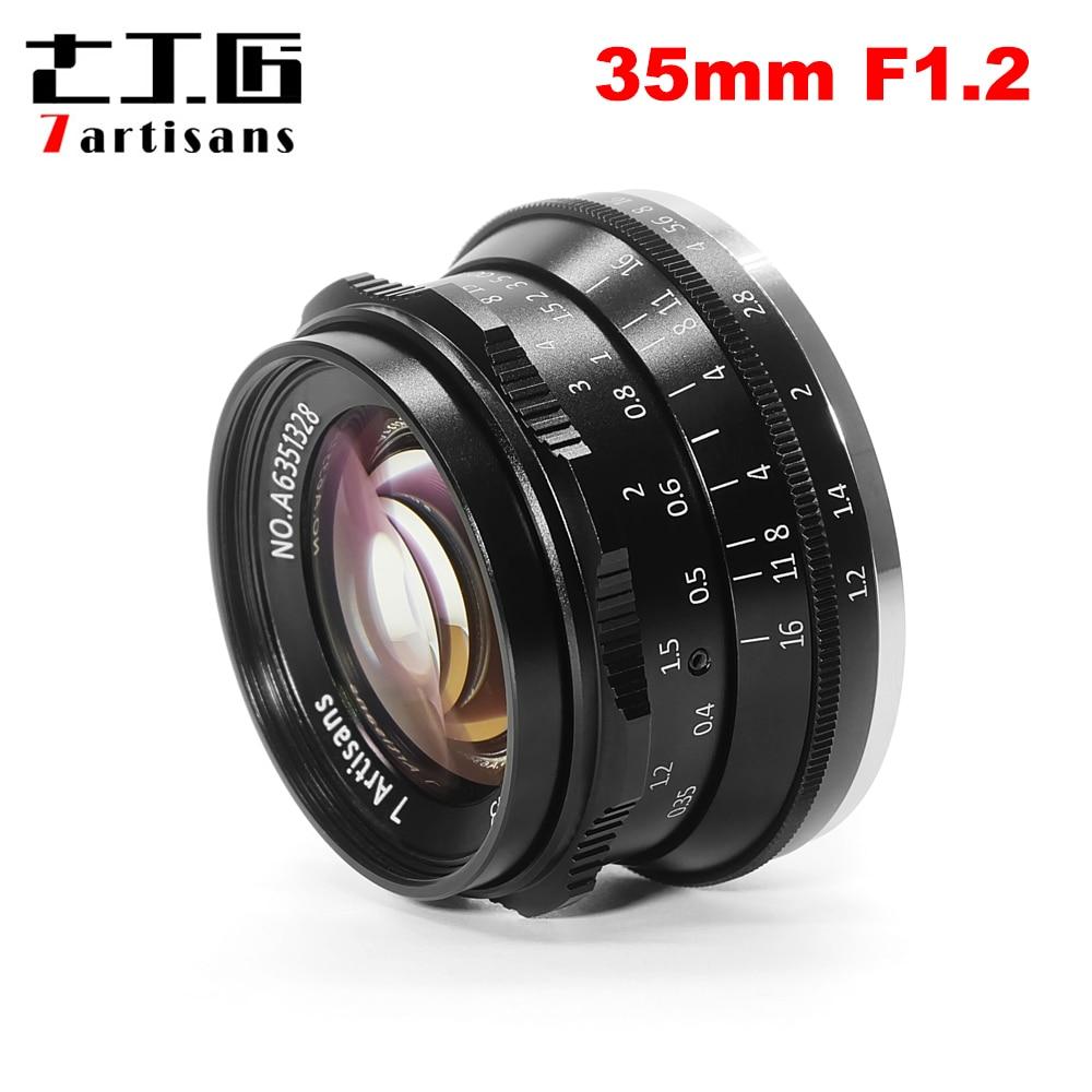 7 rzemieślników 35mm F1.2 Prime obiektyw do Sony E do montażu na/dla Fuji XF APS C bez lustra aparatu ręczne ustawianie ostrości obiektyw stałoogniskowy a6500 A6300 X A1 w Obiektywy do aparatu od Elektronika użytkowa na  Grupa 1