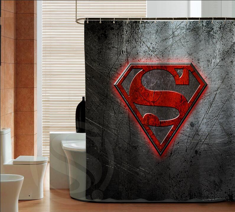 Por Superman Logo Fashion Custom Shower Curtain Bathroom Decor Various Sizes Free Shipping More Size Sq0421 Zhh In Curtains From Home Garden On