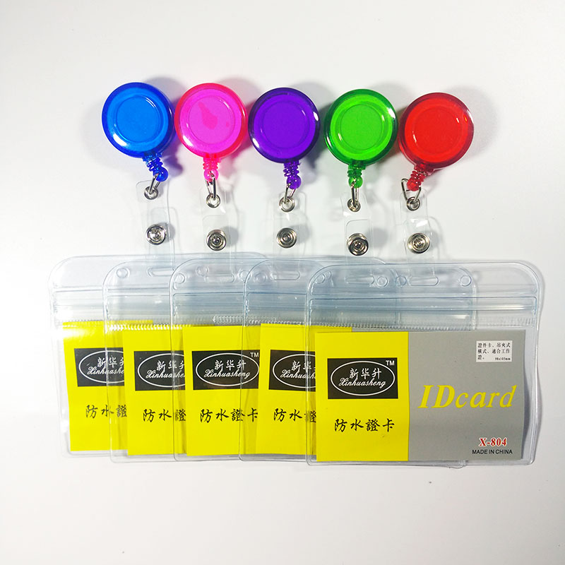with Retractable Reel Waterproof Work Clear Soft Credit Card Holders Bank Card Bus ID holders Employee company office supply