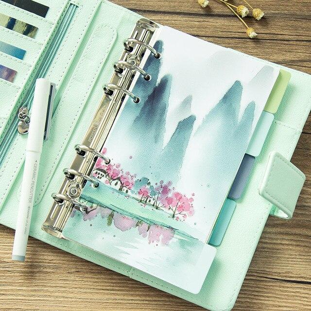5 unids/set fresco paisaje serie divisores A5 A6 cuaderno de espiral de hoja suelta de las páginas de Papel de cuaderno dentro de las páginas