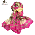 [Marte&Joven] Fashion Big Brand Style Floral Chiffon Scarves Women Imitated Silk Shawls for Ladies