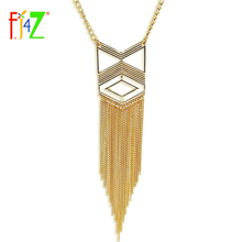F.J4Z new jewelry gift fashion designer golden tassel geo false collar long pendant necklace for women Collier oiseau