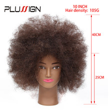 "Plussign Traininghead 10"" Afro 100 Human Hair Makeup Mannequin Head Hairdressing Training Head With Clamp Professional Styling(China)"