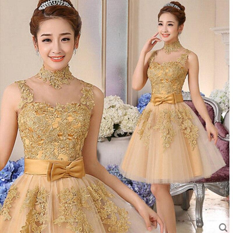 Vestidos De Coctel Gold Lace Appliques Short Cocktail