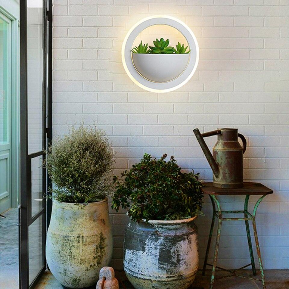 plantas verdes led luzes parede arandela 03