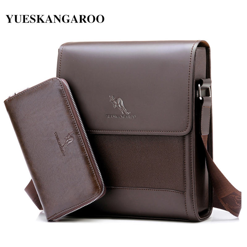 YUES KANGAROO 2017 Famous Brand Men Shoulder Messenger Bag Casual Leather Sling Crossbody Bags Vintage Man Briefcase aerlis brand men handbag canvas pu leather satchel messenger sling bag versatile male casual crossbody shoulder school bags 4390
