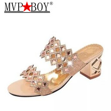 Mvp Boy Slippers Women Summer Shoes Rhinestones Fashion Platform Woman Brand Wedges Flip Flops Hollow Womens 35-41