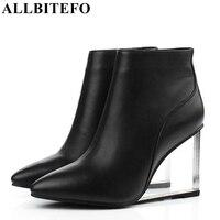 ALLBITEFO kích thước: 33-41brand thời trang phụ nữ khởi động Tinh Da Chính Hãng wedges mắt cá chân phụ nữ khởi động giày bên người phụ nữ giày cao gót