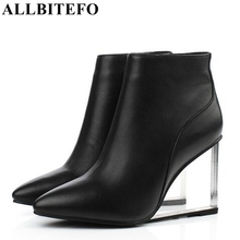 ALLBITEFO size33 41 brand fashion women boots Genuine Leather Crystal wedges ankle boots women party shoes woman high heel shoes