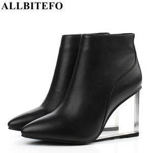 Image 1 - ALLBITEFO size33 41 marka moda kobiety buty z prawdziwej skóry kryształ kliny kostki buty damskie szpilki buty damskie na wysokim obcasie