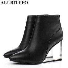 ALLBITEFO size33 41 แบรนด์แฟชั่นผู้หญิงรองเท้าหนังแท้คริสตัล wedges รองเท้าผู้หญิงรองเท้า party รองเท้าผู้หญิงรองเท้าส้นสูง