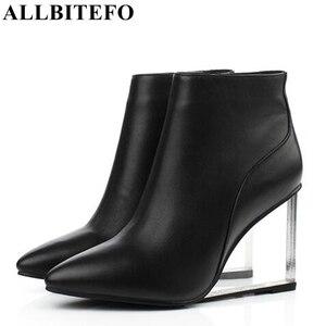 Image 1 - ALLBITEFO size33 41 العلامة التجارية أزياء النساء الأحذية جلد طبيعي الكريستال أسافين حذاء من الجلد النساء أحذية الحفلات امرأة عالية الكعب أحذية