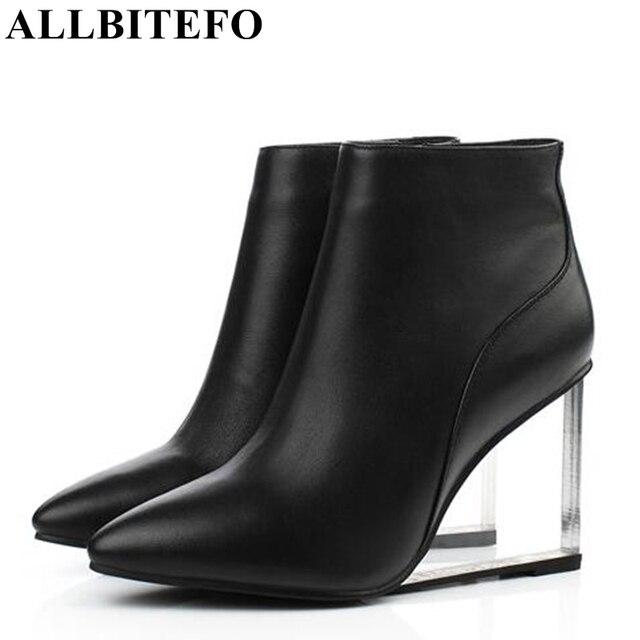 ALLBITEFO size33 41 العلامة التجارية أزياء النساء الأحذية جلد طبيعي الكريستال أسافين حذاء من الجلد النساء أحذية الحفلات امرأة عالية الكعب أحذية