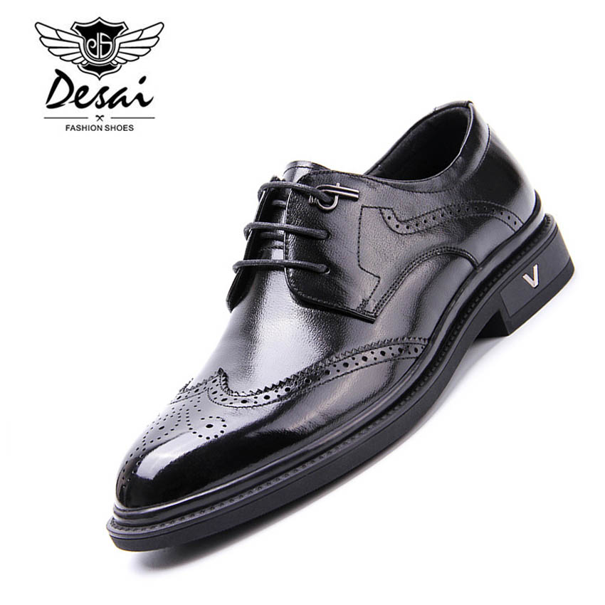 DESAI Classic Full Grain Leather Shoes Men Genuine Leather Business Dress Shoe Casual Fashion Top Quality Slip On Men's Oxfords european style real ostrich grain leather qshoes shoes mens brand design business dress luxury men fashion top shoe ym723 63