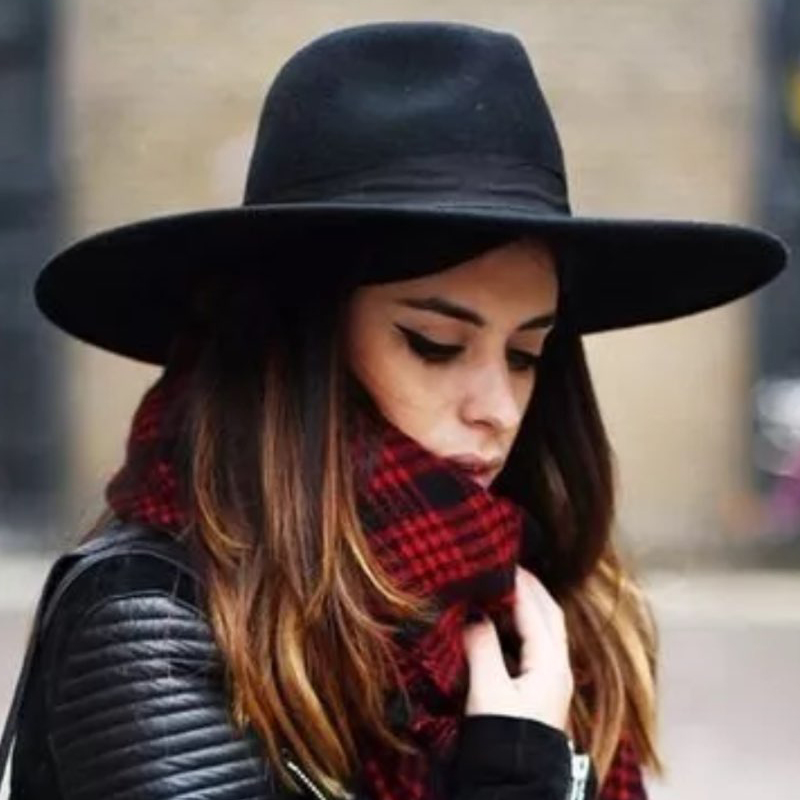 bd98fb0627eca Sunlynn Wide Brim Fedora Hat Women Like Europe Style Wool Felt Bowler Hats  latest Fashion Large