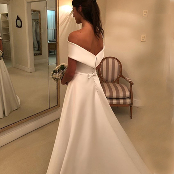 Simple A Line Wedding Dresses Satin Off The Shoulder Wedding Bridal Gowns Sweep Train Casual Dresses Zipper With Buttons Back 4