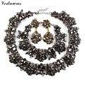 Vedawas 2016 moda conjuntos de jóias de cristal gargantilha colar Multicolor pulseira brinco conjuntos de jóias de casamento de luxo 1761