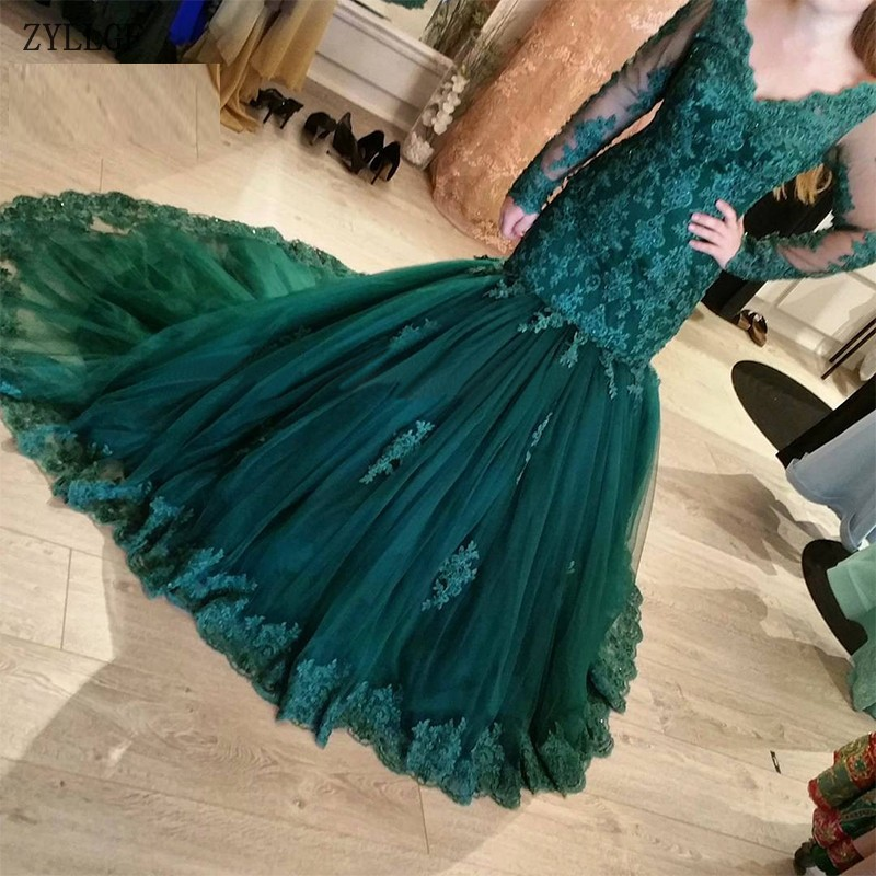 Weddings & Events Objective Zyllgf Muslim Lace Long Sleeve Emerald Green Mermaid Formal Evening Party Dress Turkish Arabic Moroccan Kaftan Evening Gown Mc66