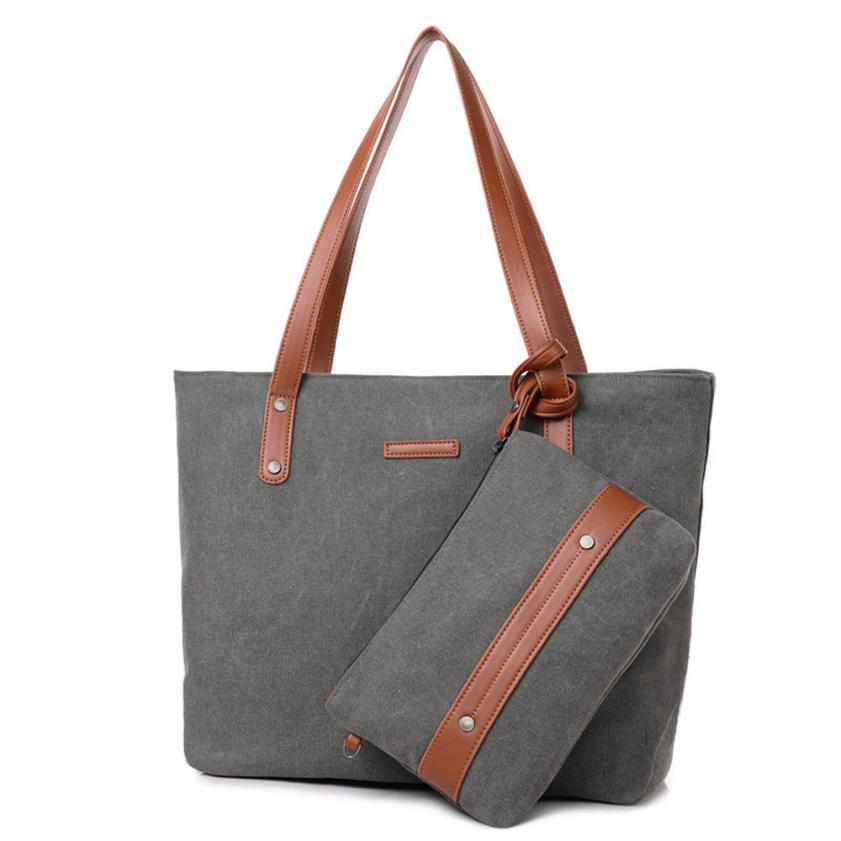 Для женщин модные простые Холст сумка сумки Женские однотонные мать сумка + клатч кошелек # F