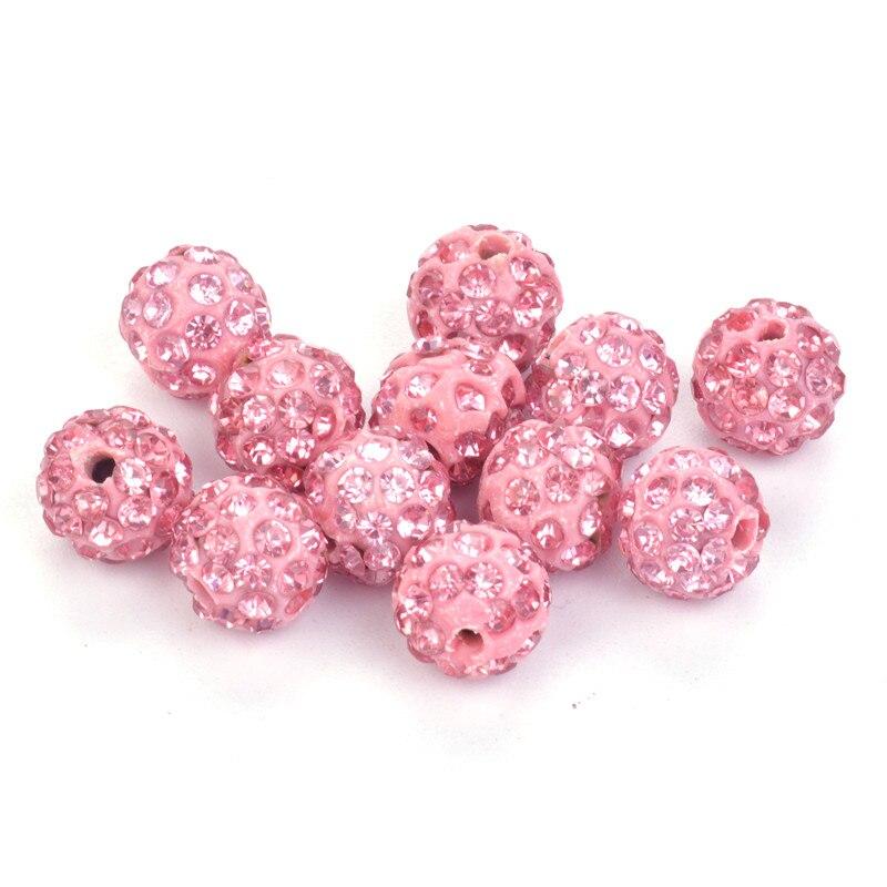 33color 50pcs 10mm Lemon Yellow Shamballa Beads Clay Pave Rhinestone Crystal Shamballa Ball Beads For Diy Jewelry Making Beads