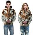 Европейский Американский Тенденции Моды Перемычки 3D Цифровая Печать Тигр Пиджаки Пальто С Длинным Рукавом Мужчины Женщины С Капюшоном Пары