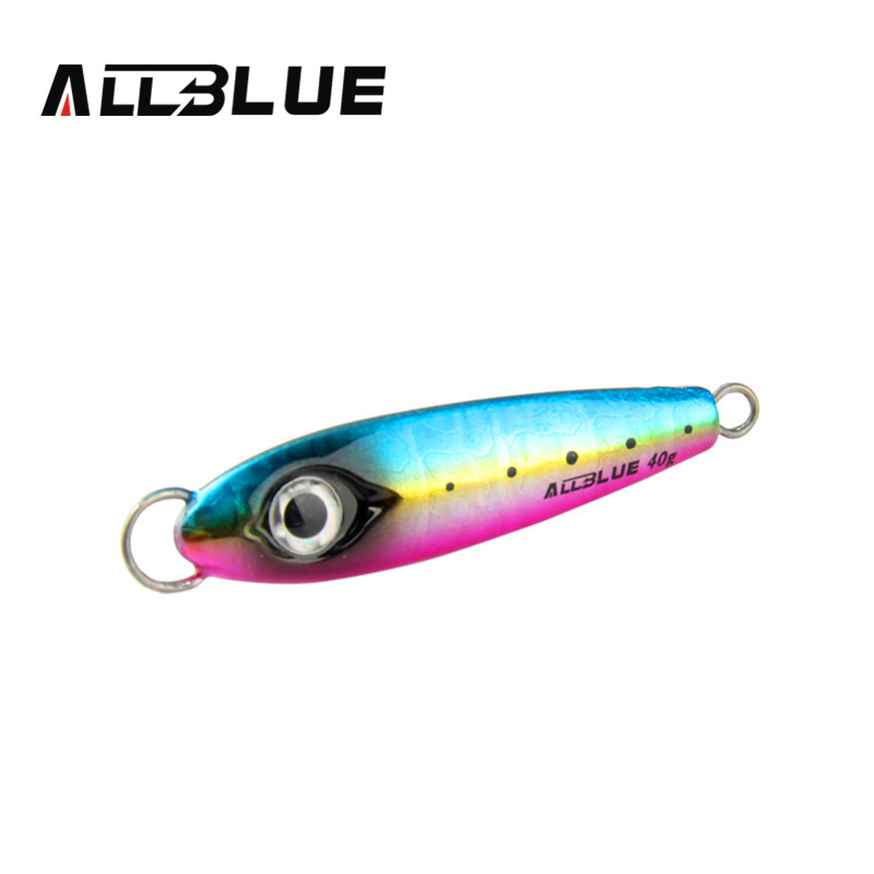 Allblue new metal jigging spoon 40g 3d eyes artificial for Fishing with jigs