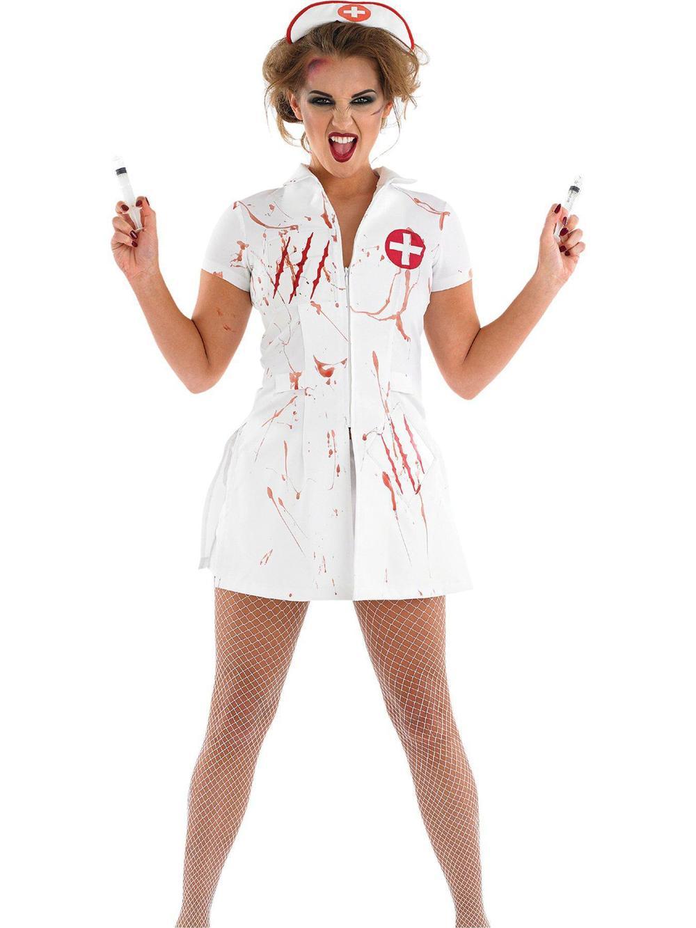 Ladies Sexy Naughty Nurse Fancy Dress Fun Party Hen Costume  Womens