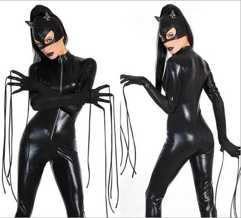 Free pp Halloween Cosplay Women's Black Catsuit Sexy Stretch PVC Leather Front To Crotch Zipper Jumpsuit Bodysuit With Mask M XL