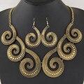Mujeres collar con pendientes declaración sistemas de la joyería de plata chapado en Oro de Moda para el banquete de boda cristalino de la manera de boho