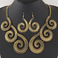 Women necklace with earrings jewelry sets statement necklace Gold silver plated Trendy for party wedding boho crystal fashion