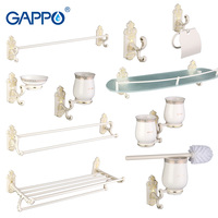 Gappo 9PC Set Bathroom Accessories Towel Bar Paper Holder Toothbrush Holder Glass Shelf Toilet Brush Holder
