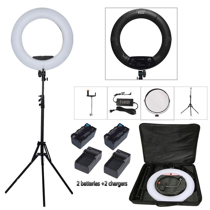 Yidoblo noir FS-480II Bio-salon de beauté de couleur maquillage selfie 48 w A MENÉ LA Lumière D'anneau Lampe LED + 2 m debout + Sac + piles Kit