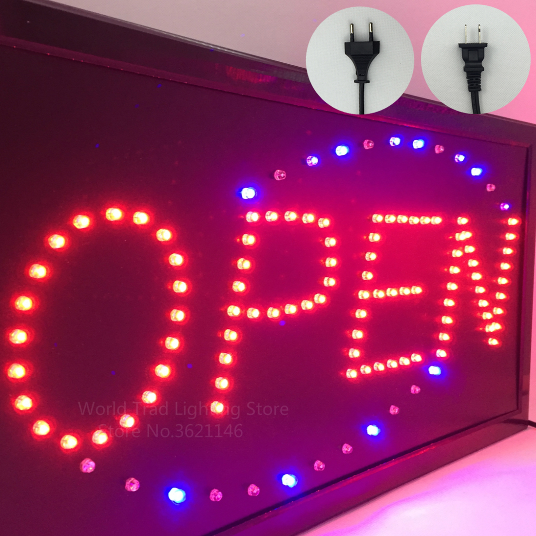 LED store Open sign Logo Advertising Light Board Shopping Mall Bright Animated Motion Neon Business Store Billboard US EU Plug-in Advertising Lights from Lights & Lighting on