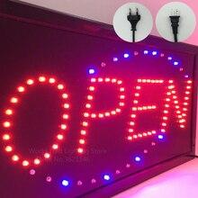 """LED חנות פתוח סימן לוגו פרסום אור לוח קניון בהיר אנימציה תנועה ניאון עסקים חנות לוח מודעות ארה""""ב האיחוד האירופי Plug"""