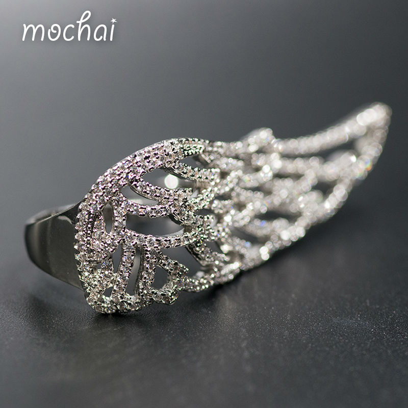 Mocai font b Luxury b font Full Cubic Zirconia Hollow Wings Rings Party font b Jewelry