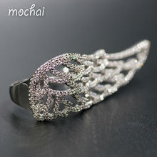 Mocai Luxury Full Cubic Zirconia Hollow Wings Rings Party Jewelry Unique Fashion Brand Double Finger Rings For Women ZK20