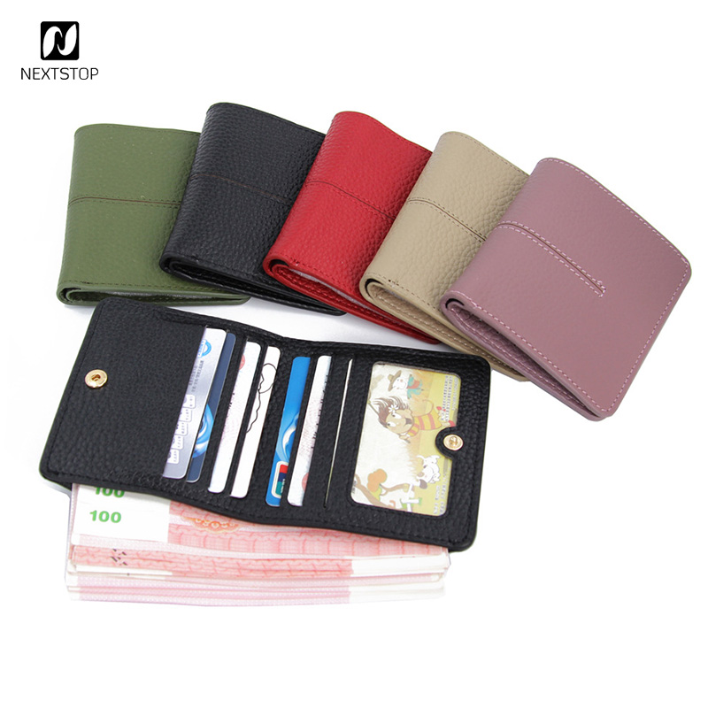 Genuine original leather womens purse Thin Minimalist small wallet female clutch Coins mini pouches Red business card holder