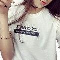 2017 Carta de Verano Japonés Harajuku Impresa Camiseta de Algodón Mujeres Desgaste de La Calle de Las Mujeres Del Todo-Fósforo de la Moda de Manga Corta Tops Camiseta
