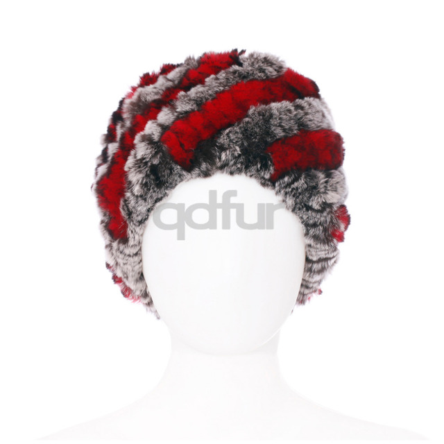 Autumn Ladies' Genuine Knitted Rex Rabbit Fur Hats Caps Winter Women Fur Beanies Female Headgear QD30454