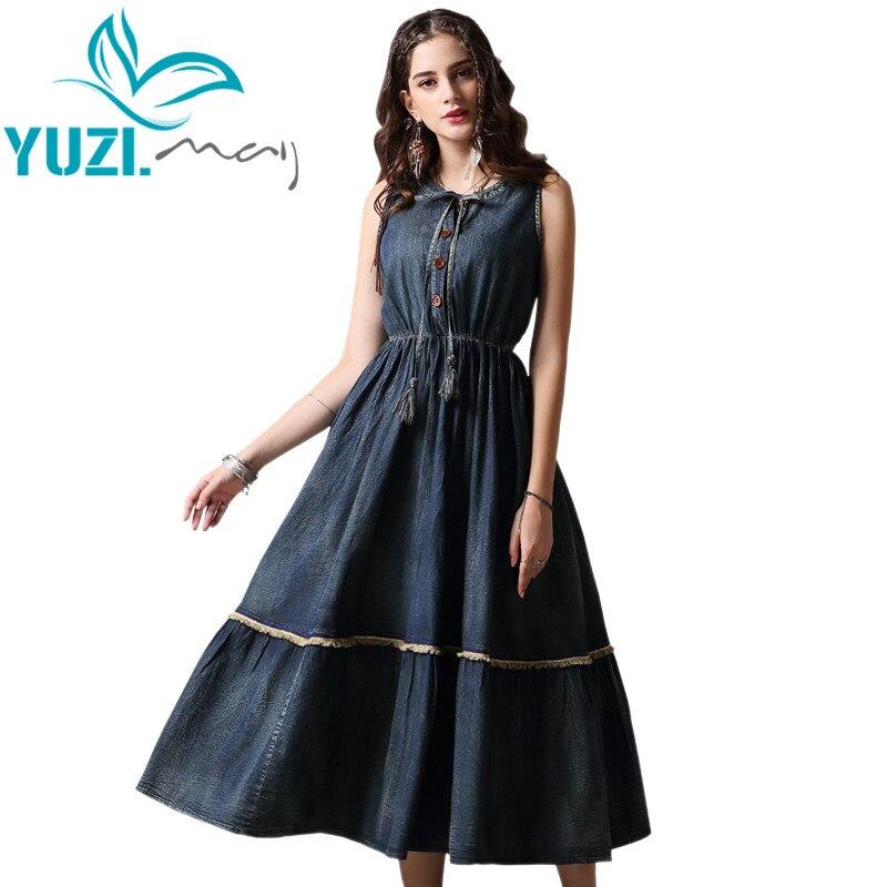 Summer Dress 2018 Yuzi may Boho New Denim Vestidos V Neck Swing Hem A line High