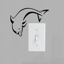 Initial Monogram Vinyl Wall Sticker Dolphin Personalized Art Switch Decal Bedroom  Decor 3SS0219(China)