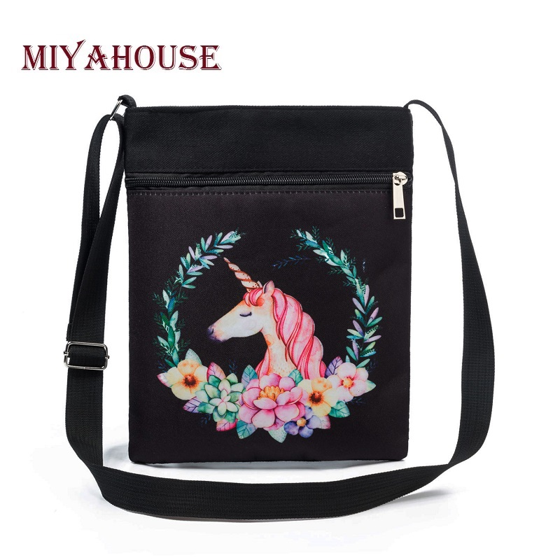 Miyahouse Casual Small Unicorn Printed Shoulder Bag Women Canvas Flap Messenger bag For Lady Black Color Daily Use Phone Bag new shoulder casual bag messenger bag canvas man travel handbag for male trip daily use grey khaki black color fashion